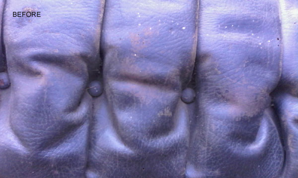 a close up showing how the leather has worn