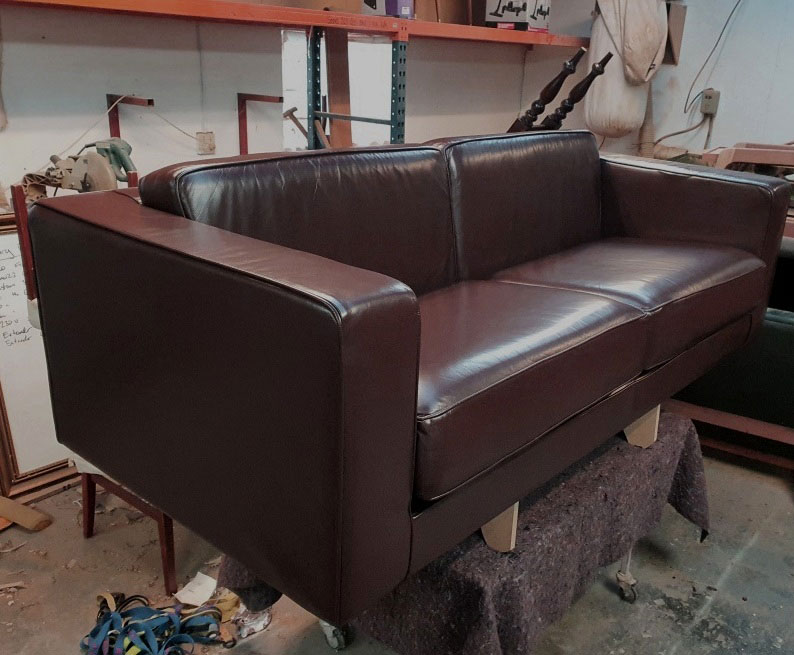 leather couch after restoration work