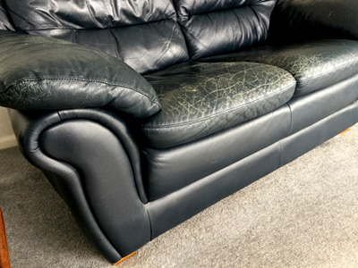 cracked leather couch