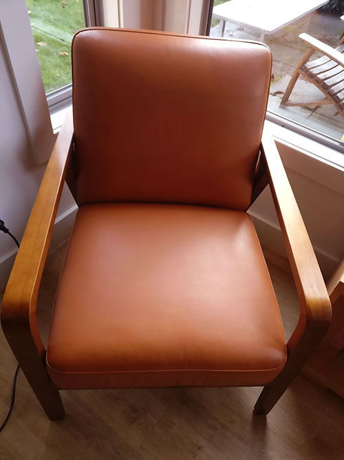 refinished leather chair