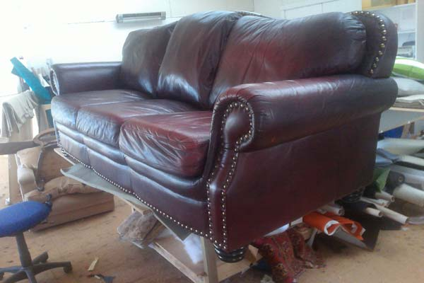 restored leather settee
