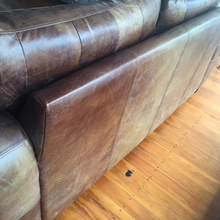Testimonial Waxed Oiled Leather Care On Couch