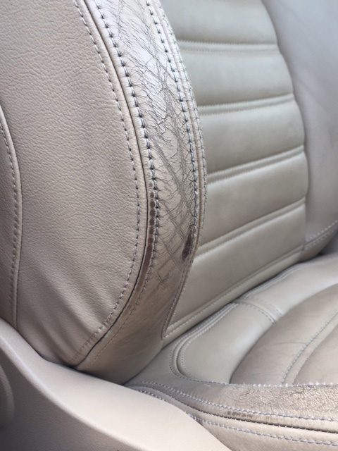 worn inside back of leather car seat