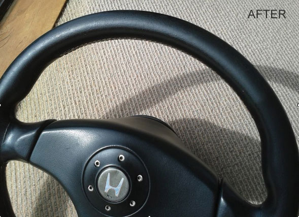 leather steering wheel recoloured