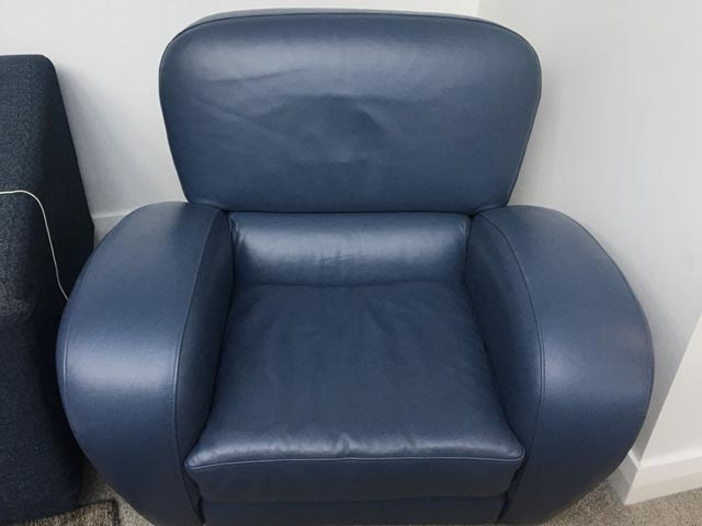 blue leather chair after