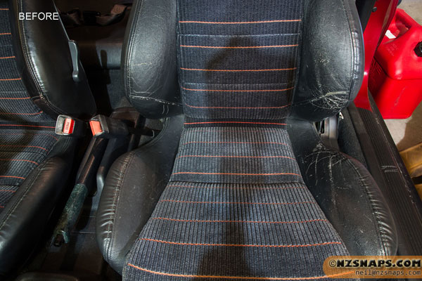 Black Leather Honda Seats showing wear