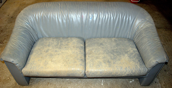 Pre-school leather couch needing work