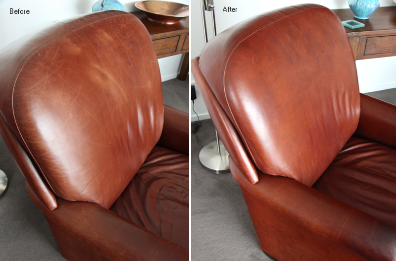 Close up of waxed oil chair cleaned and conditioned