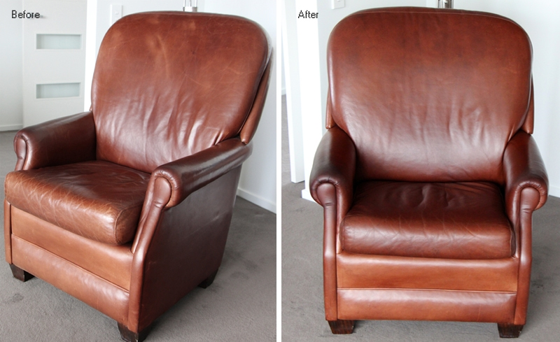 Before and after example of waxed oiled leather chair