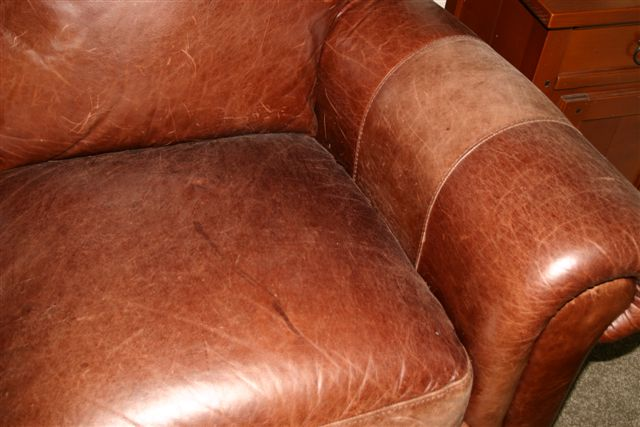 faded waxed oil leather couch